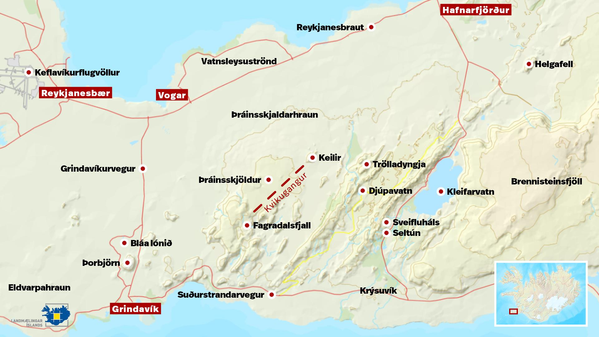 Exspecting eroption in the next hours in Reykjanes peninsula.